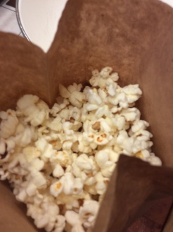 Freshly popped corn in the bag